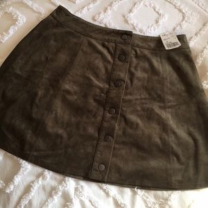 Forever 21 Button Up Suede Olive Skirt